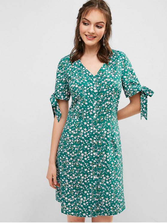 chic ZAFUL Floral Tie Cuffs Tea Dress - MACAW BLUE GREEN S
