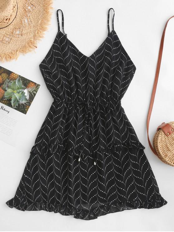 fancy Dotted Ruffles Cami Mini Dress - BLACK L
