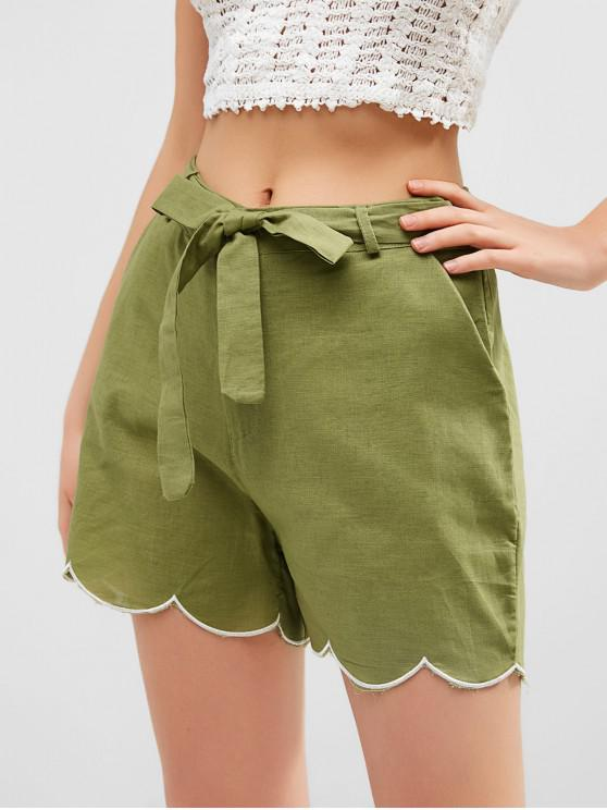 online Zipper Fly Scalloped Hem Belted Shorts - CAMOUFLAGE GREEN M