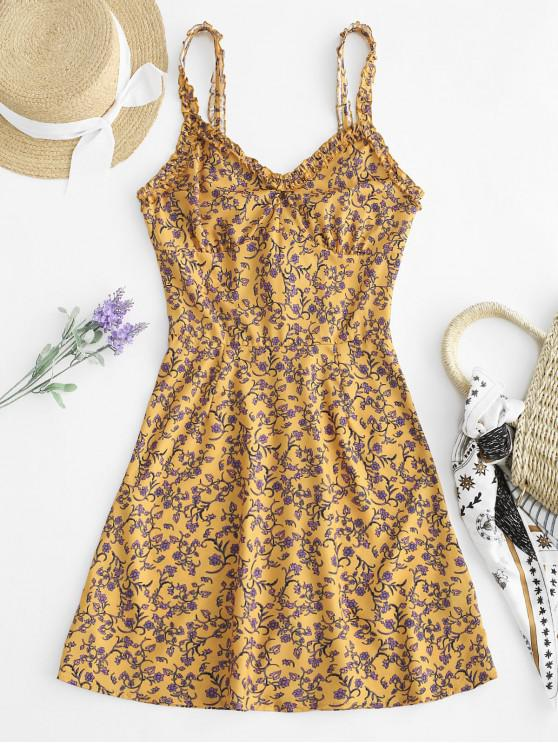 shop Frills Floral Back Zipper Mini Dress - YELLOW M