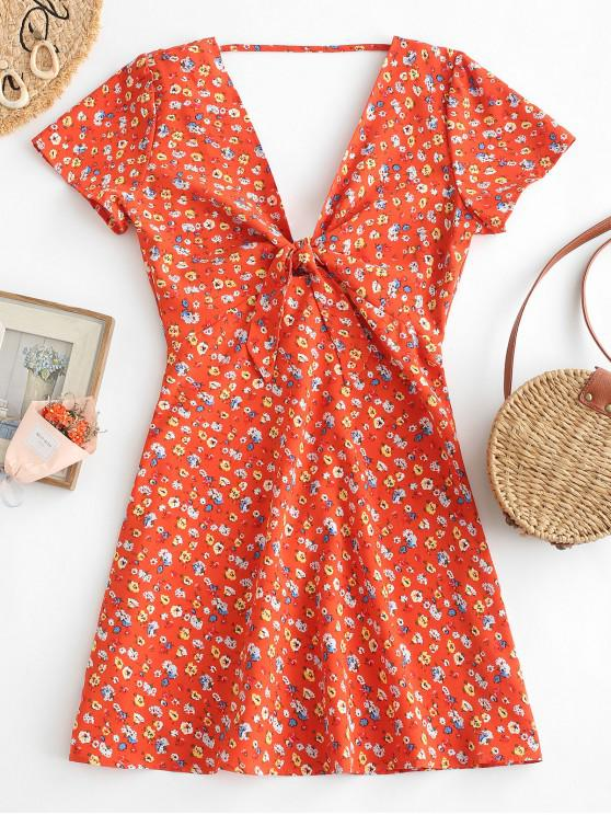 outfits Open Back Floral Tie Front Mini Dress - DARK ORANGE M