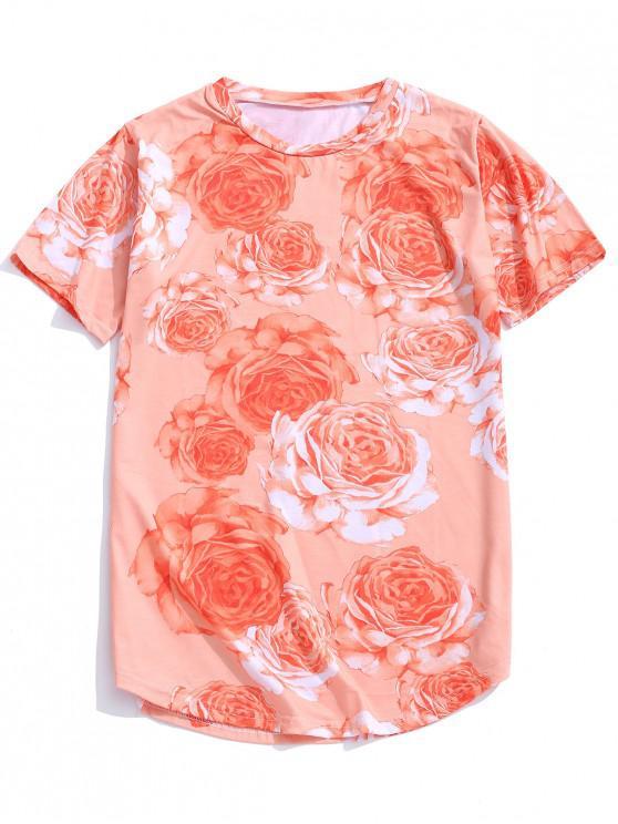 women's Rose Pattern Casual Short Sleeves T-shirt - TANGERINE XS