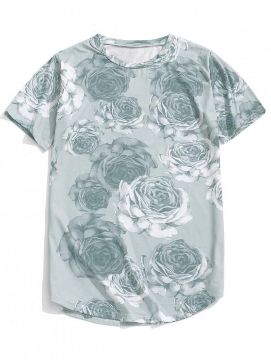hot Rose Pattern Casual Short Sleeves T-shirt - GRAY CLOUD M