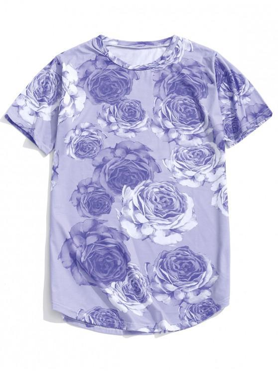 latest Rose Pattern Casual Short Sleeves T-shirt - MEDIUM PURPLE L