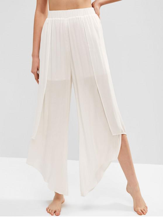 latest ZAFUL Asymmetric Plain Wide Leg Beach Pants - WHITE M