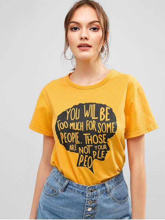 latest Head Letter Graphic Casual Tee - BEE YELLOW S
