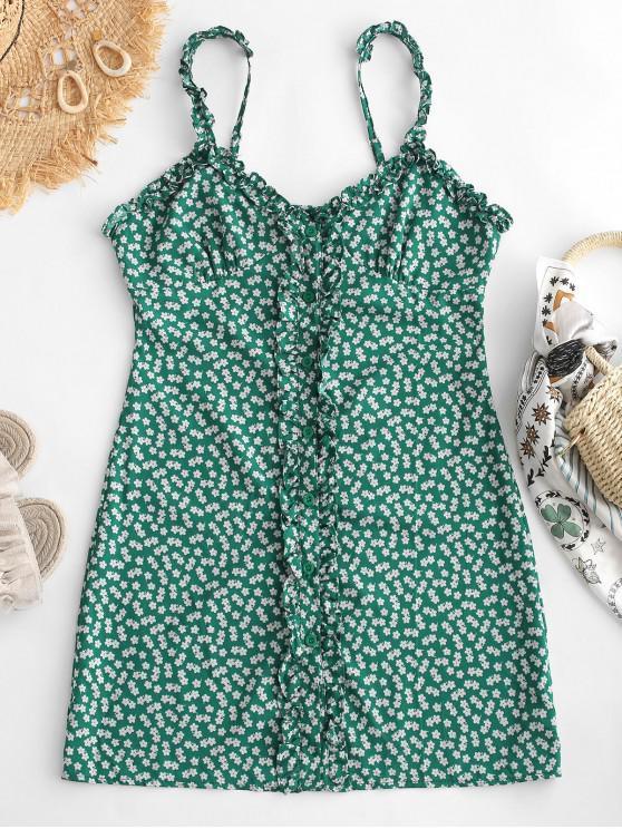 best Floral Ruffled Button Up Mini Dress - GREEN S