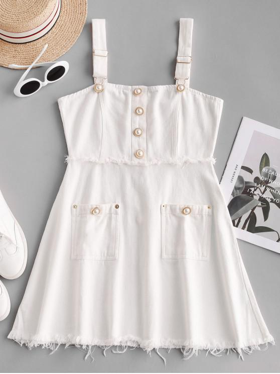 online Pockets Pearly Buttons Mini Dress - WHITE L