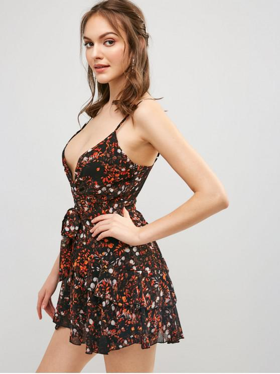 womens Ruffles Layered Belted Floral Mini Dress - BLACK S