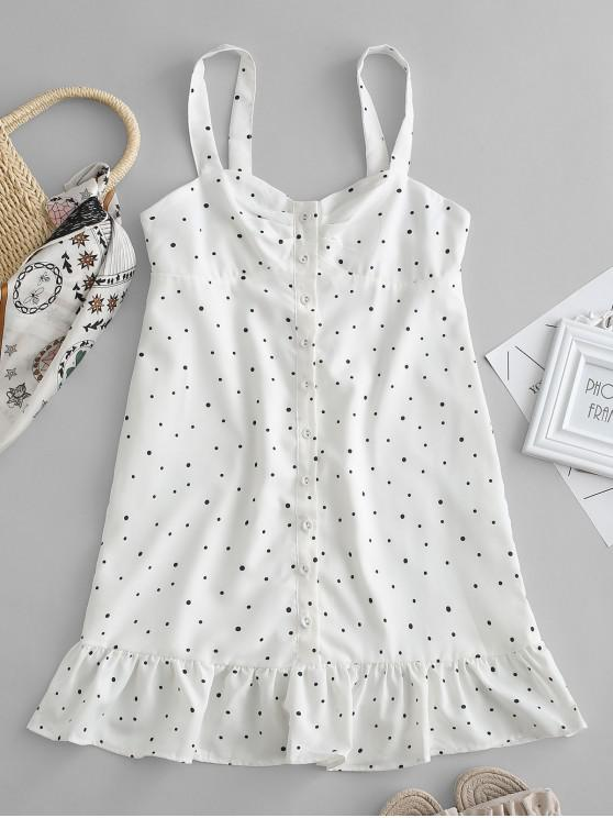 new Buttoned Polka Dot Ruffles Dress - WHITE L