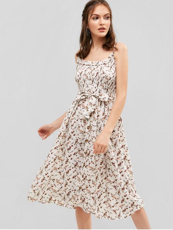 best Belted Floral Smocked Cami Dress - MULTI L