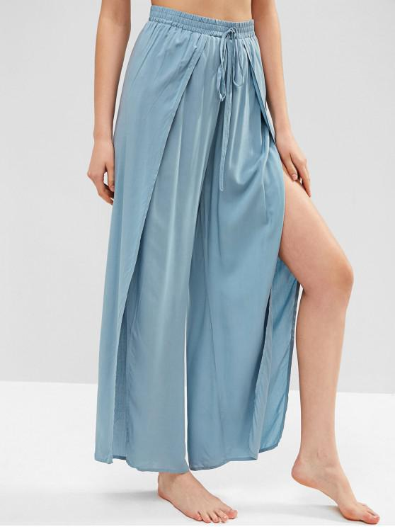 shops ZAFUL Knotted Overlap Wide Leg Pants - BLUE GRAY S