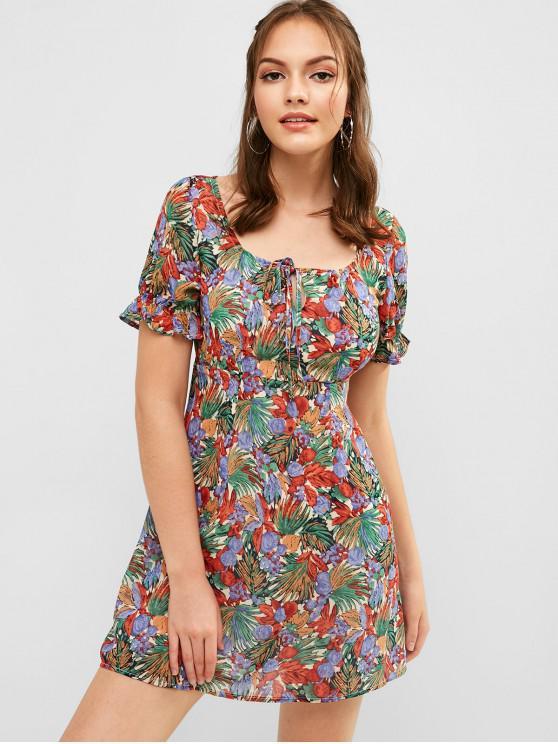 fancy ZAFUL Tie Leaf Print Dress - SEA TURTLE GREEN L