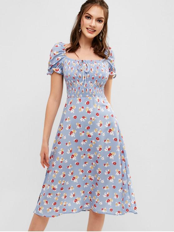 Vestido de leiteira com fenda floral - Azul M