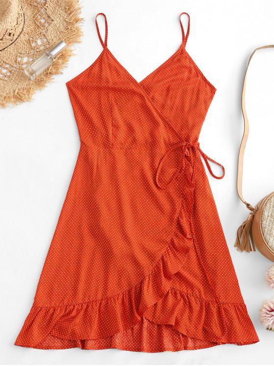 chic ZAFUL Ruffles Polka Dot Cami Wrap Dress - PAPAYA ORANGE M