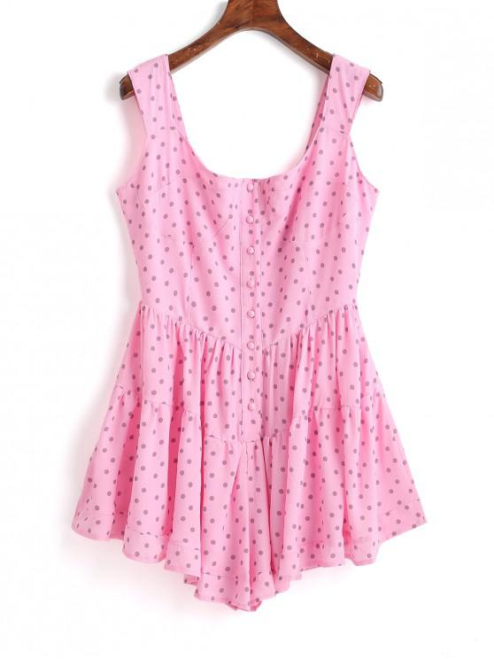 affordable Half Buttoned Polka Dot Sleeveless Romper - PINK L