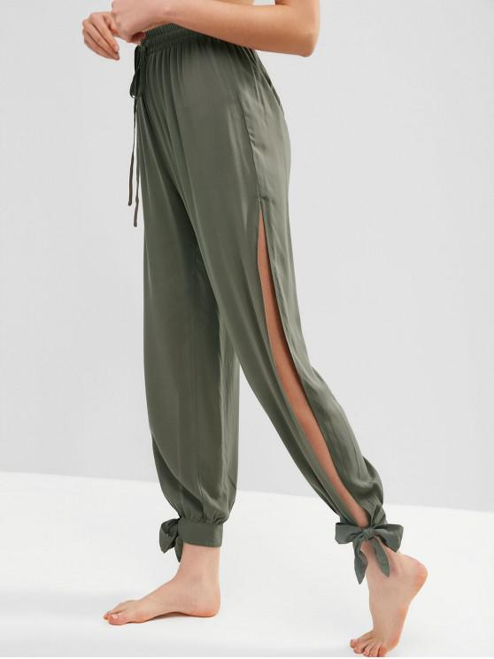 chic Tie Ankle Split Pants - CAMOUFLAGE GREEN S
