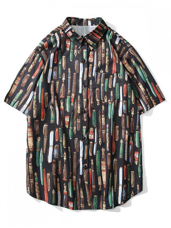 lady Casual Pen Pattern Short Sleeves Shirt - BLACK L