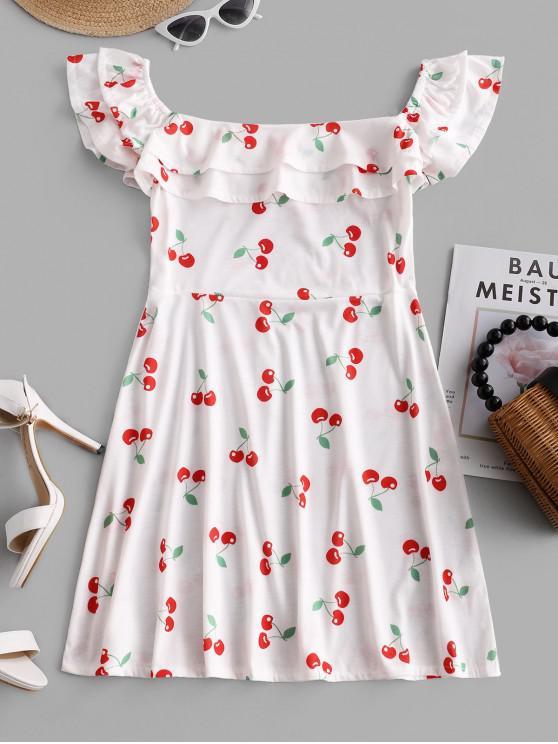 sale Layered Ruffles Cherry Mini Dress - WHITE L