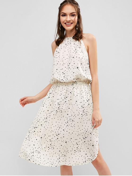 ladies ZAFUL Stars Print Blouson Dress - MILK WHITE S