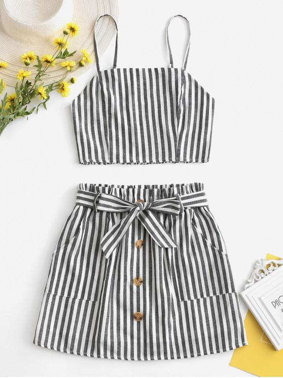chic ZAFUL Smocked Striped Top and Belted Skirt Set - BLACK S