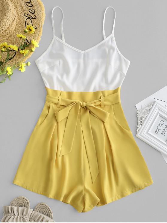 buy ZAFUL Color Block Belted Cami Romper - MULTI S