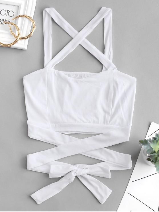 fancy Crisscross Tie Crop Top - WHITE S