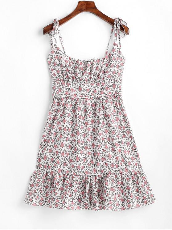 Mini vestido con tiras de flores atadas una línea - Multicolor L