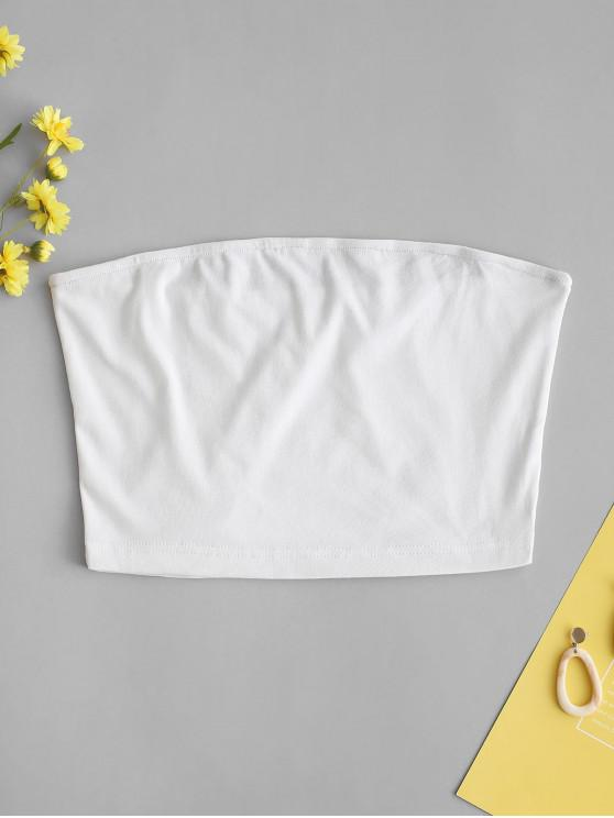 shop ZAFUL Solid Plain Bandeau Top - WHITE S
