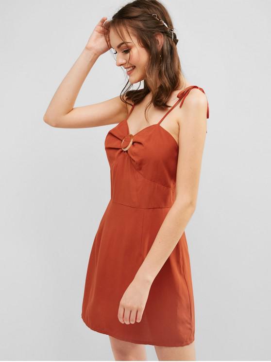 lady ZAFUL Tie Ring Cami Dress - CHESTNUT RED S