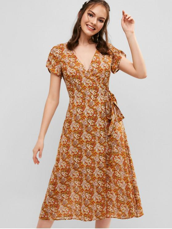 unique ZAFUL Floral Chiffon Wrap Dress - SUN YELLOW M