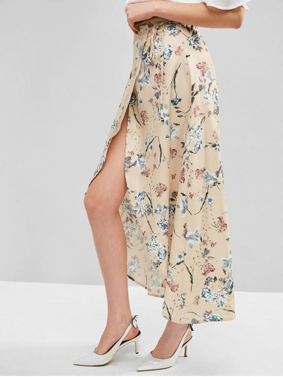 trendy Floral Maxi Wrap Skirt - MULTI-A M