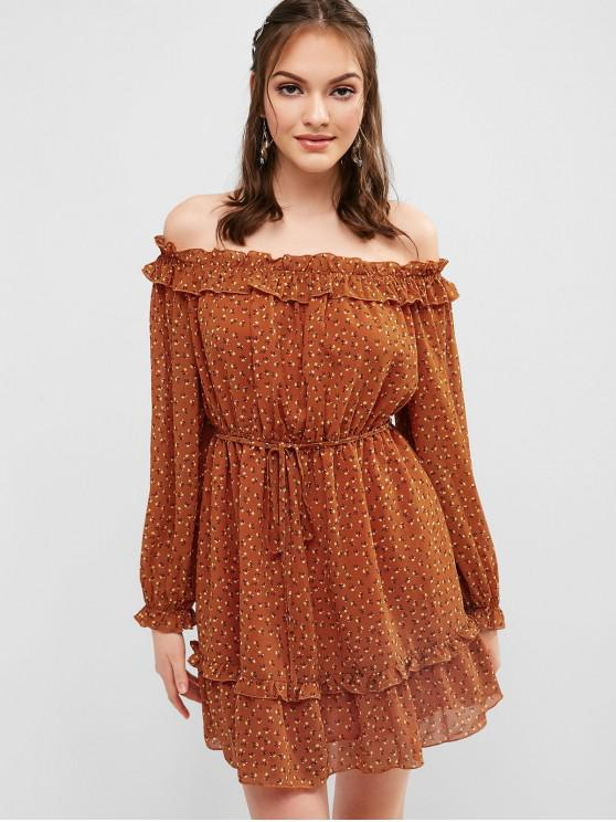 chic ZAFUL Frilled Floral Off The Shoulder Dress - CHOCOLATE L