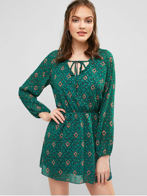 shop Long Sleeve Printed Casual Dress - SEA TURTLE GREEN L