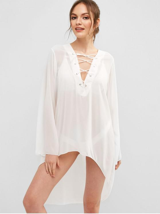 trendy Lace Up High Low Plunging Cover Up - WHITE ONE SIZE