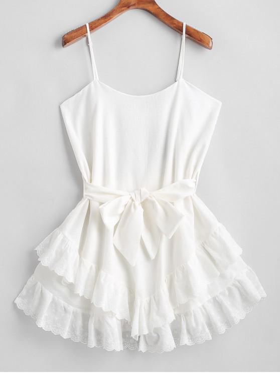 new ZAFUL Ruffles Belted Cami Mini Dress - WHITE L