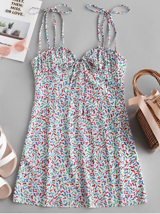fashion Tied Straps Colorful Printed Mini Dress - MULTI S