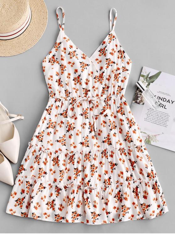 outfit Drawstring Floral Cami Mini Dress - MULTI L