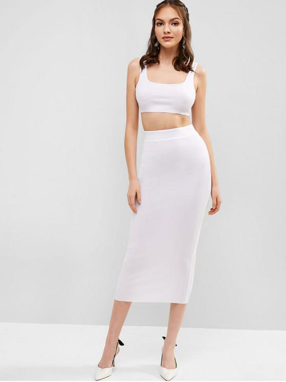 buy Ribbed Bodycon Skirt Set - WHITE M