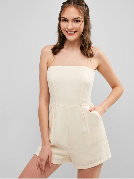 online ZAFUL Back Zipper Strapless Plain Romper - WARM WHITE S