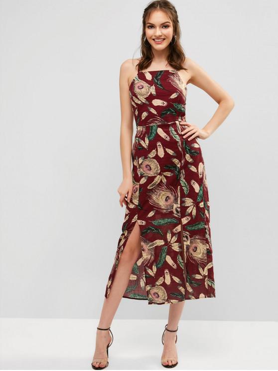 Vestido maxi con aberturas con estampado de plumas y espalda abierta - Rojo XL