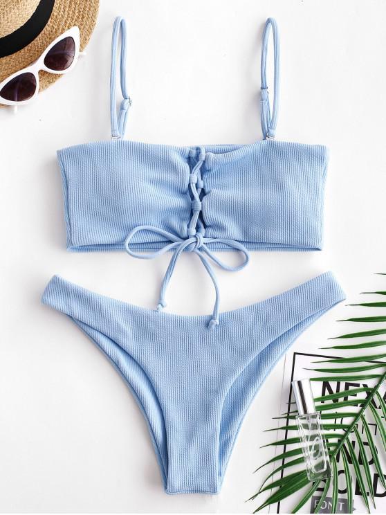 latest ZAFUL Ribbed Lace Up Tank Bikini Set - DAY SKY BLUE M