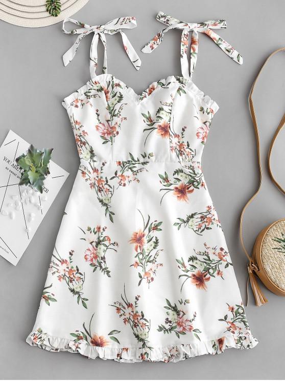 women Tied Straps Floral Ruffles Mini Dress - WHITE M