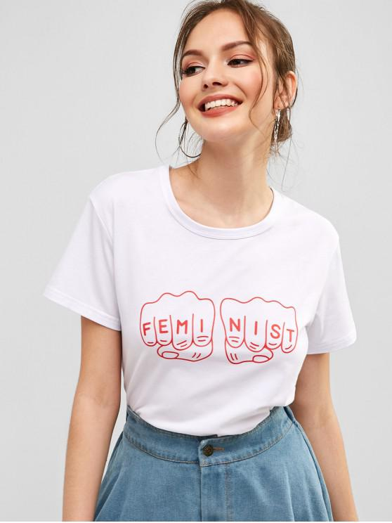 lady Short Sleeves Fist Letter Graphic Tee - WHITE M