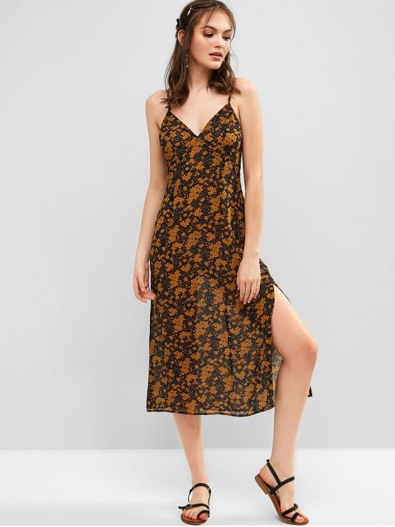 outfits ZAFUL Floral Side Slit Chiffon Cami Dress - BEE YELLOW S