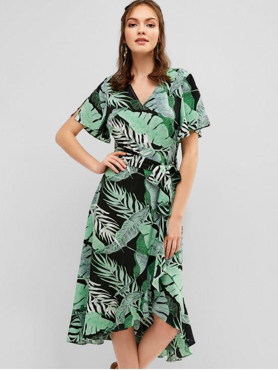 chic ZAFUL Palm V Neck Ruffle Asymmetrical Dress - GREENISH BLUE L