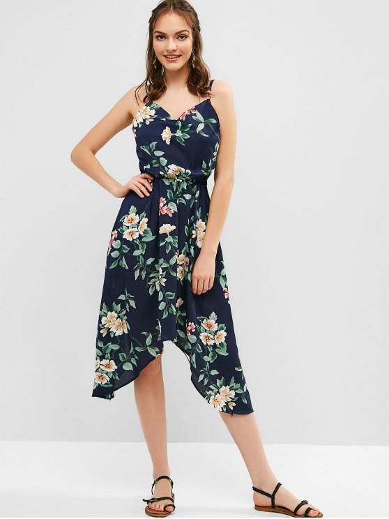 unique Elastic Waist Floral Cami Midi Dress - DARK SLATE BLUE XL