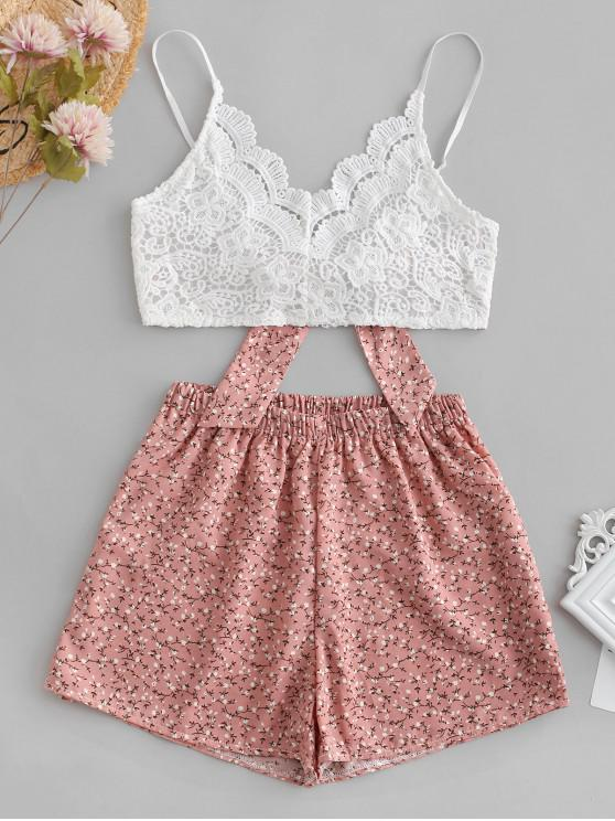 shop ZAFUL Floral Print Lace Panel Cami Shorts Set - PINK M