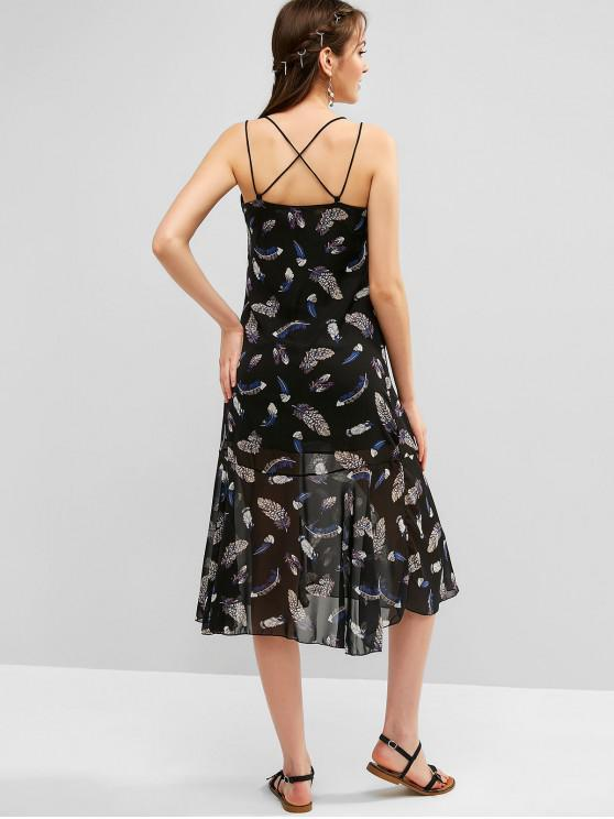 affordable Feather Print Strappy Criss Cross Cami Dress - BLACK 2XL