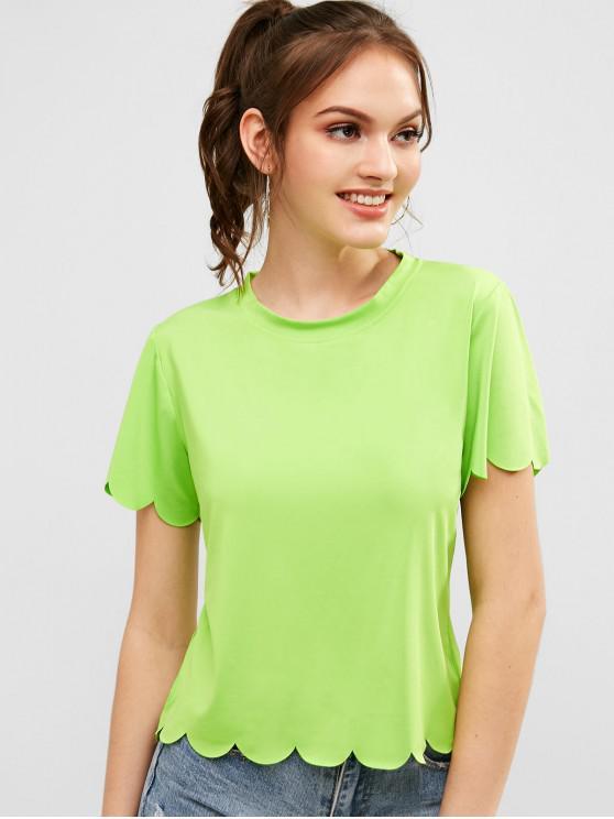 T-shirt al neon smerlata rotonda - Serpente Verde S